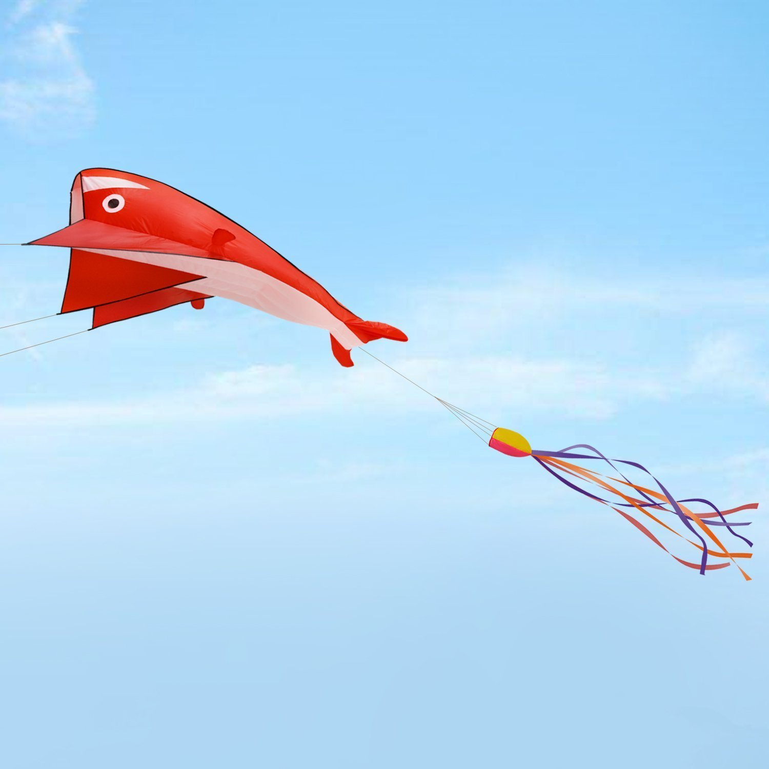 Fixm Huge 3D Dolphin Kite for Kids and Adults, 3D Frameless Soft Parafoil Animal Beach Kites with Handle & String, 78.74 x 28.74 Inch - One Of The Best Outdoor Activity Game Toys